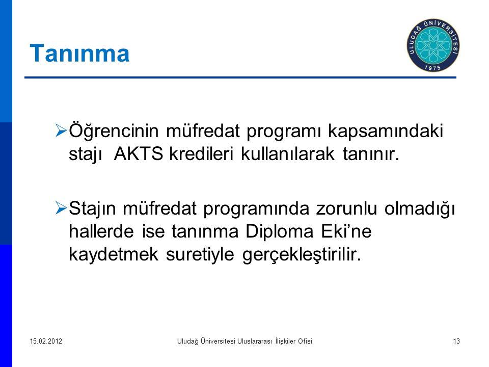 Tanınma  Öğrencinin müfredat programı kapsamındaki stajı AKTS kredileri kullanılarak tanınır.