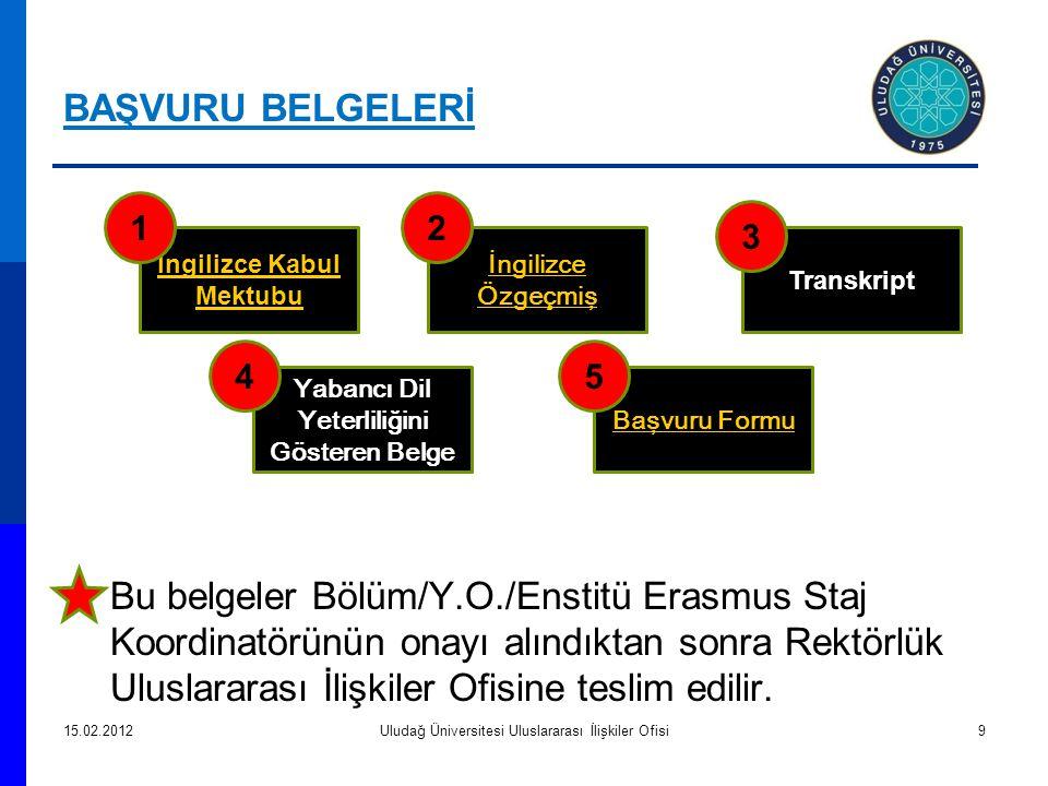 Bu belgeler Bölüm/Y.O./Enstitü Erasmus Staj Koordinatörünün onayı alındıktan sonra Rektörlük Uluslararası İlişkiler Ofisine teslim edilir. 15.02.2012U