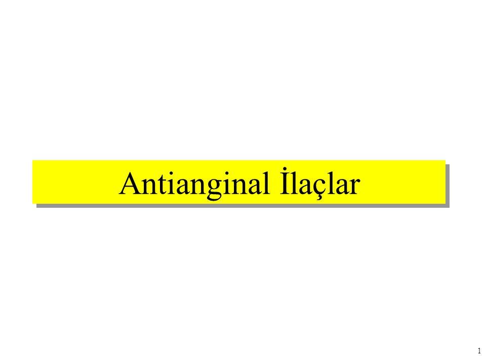 2 Ders Planı  Angina Tipleri  Antianginal Etki Mekanizmaları  Antianginal İlaçlar –Organik Nitratlar (Nitrovazodilatörler) –Beta-Adrenerjik Reseptör Blokörleri (Beta Blokörler) –Kalsiyum Kanal Blokörleri