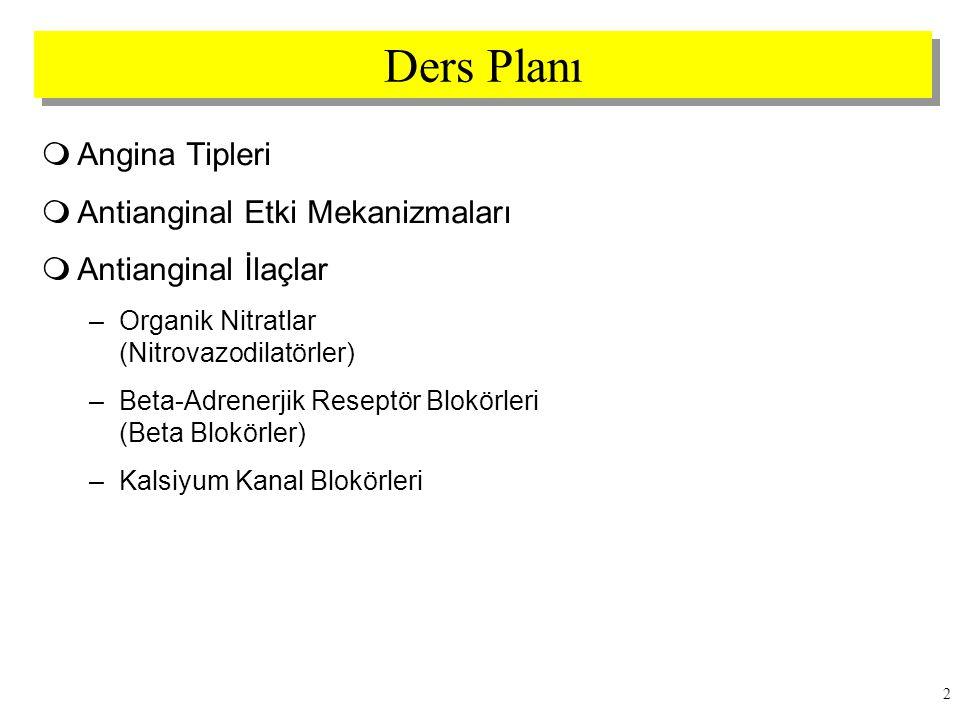 3 Angina Tipleri  Stabil angina (klasik angina) (efor anginası)  Stabil-olmayan angina (unstable angina)  Varyant angina (Prinzmetal angina) (vazospastik angina)