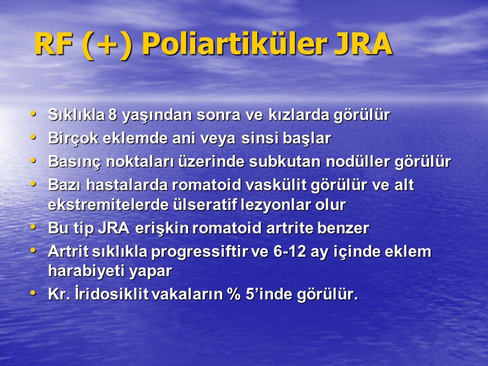 RF (+) Poliartiküler JRA Sıklıkla 8 yaşından sonra ve kızlarda görülür Sıklıkla 8 yaşından sonra ve kızlarda görülür Birçok eklemde ani veya sinsi baş