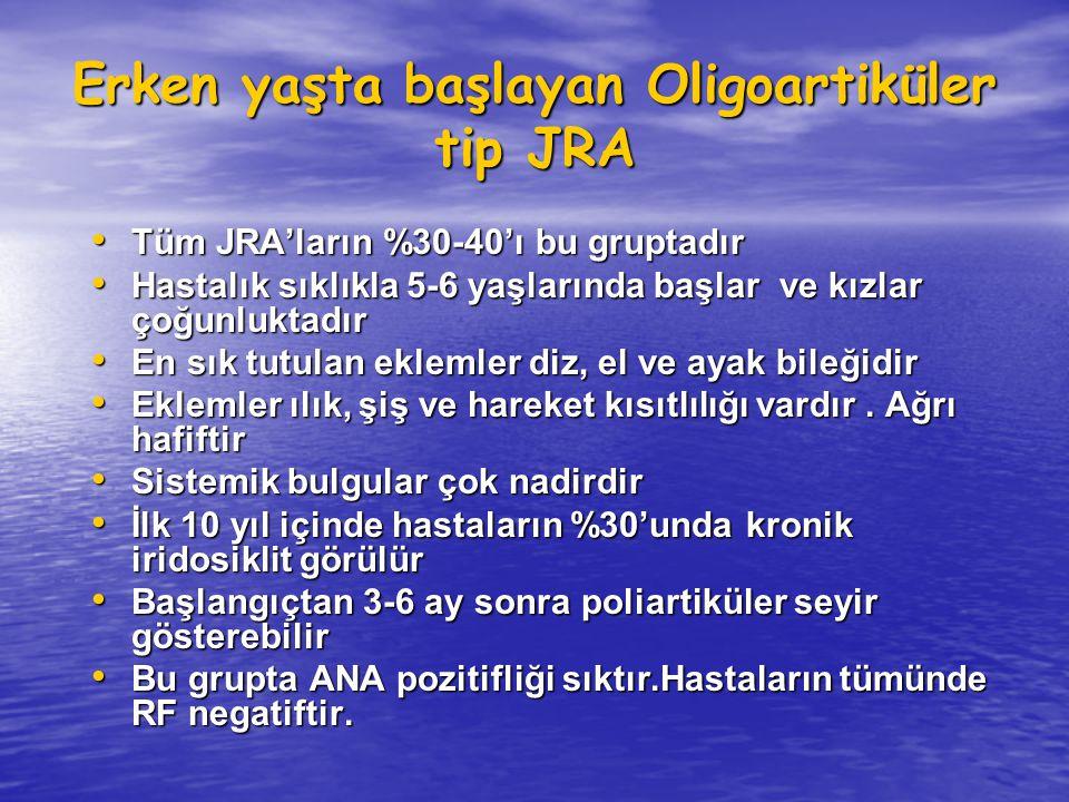 Erken yaşta başlayan Oligoartiküler tip JRA Tüm JRA'ların %30-40'ı bu gruptadır Tüm JRA'ların %30-40'ı bu gruptadır Hastalık sıklıkla 5-6 yaşlarında b