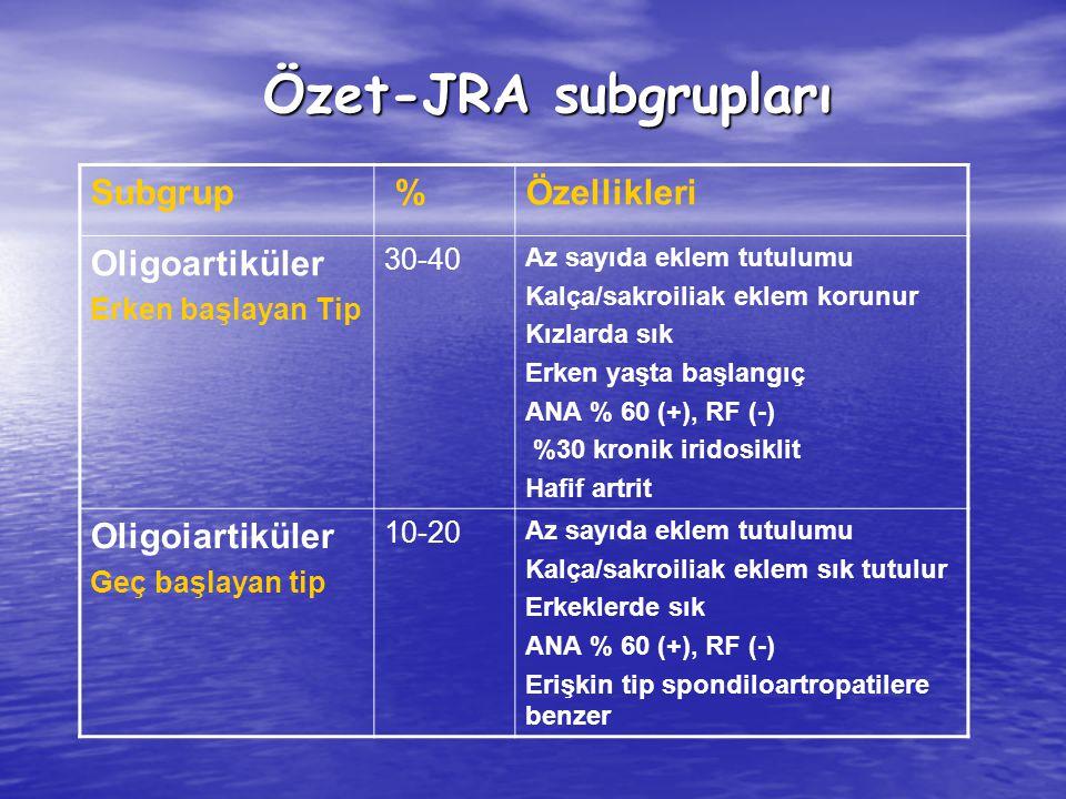 Özet-JRA subgrupları Özet-JRA subgrupları Subgrup %Özellikleri Oligoartiküler Erken başlayan Tip 30-40 Az sayıda eklem tutulumu Kalça/sakroiliak eklem