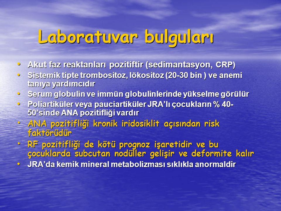 Laboratuvar bulguları Akut faz reaktanları pozitiftir (sedimantasyon, CRP) Akut faz reaktanları pozitiftir (sedimantasyon, CRP) Sistemik tipte trombos