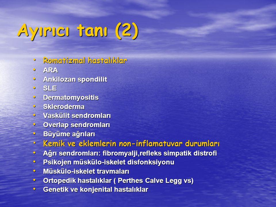 Ayırıcı tanı (2) Romatizmal hastalıklar Romatizmal hastalıklar ARA ARA Ankilozan spondilit Ankilozan spondilit SLE SLE Dermatomyositis Dermatomyositis