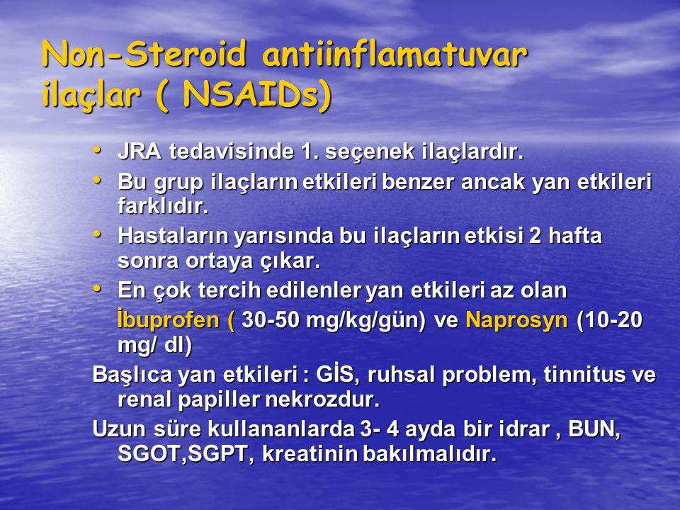 Non-Steroid antiinflamatuvar ilaçlar ( NSAIDs) JRA tedavisinde 1. seçenek ilaçlardır. JRA tedavisinde 1. seçenek ilaçlardır. Bu grup ilaçların etkiler