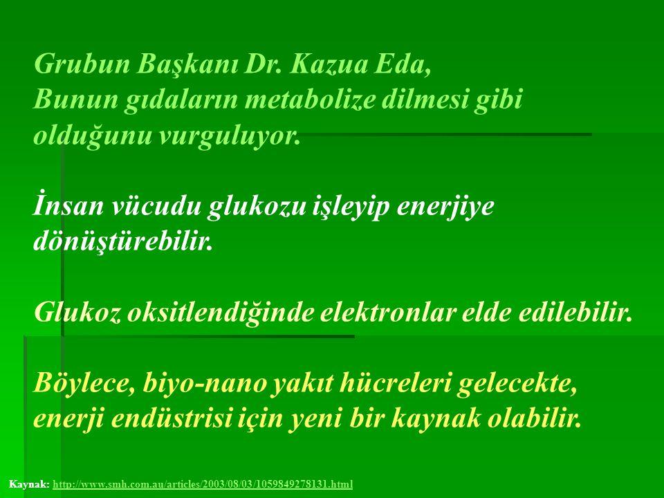 Grubun Başkanı Dr. Kazua Eda, Bunun gıdaların metabolize dilmesi gibi olduğunu vurguluyor. İnsan vücudu glukozu işleyip enerjiye dönüştürebilir. Gluko