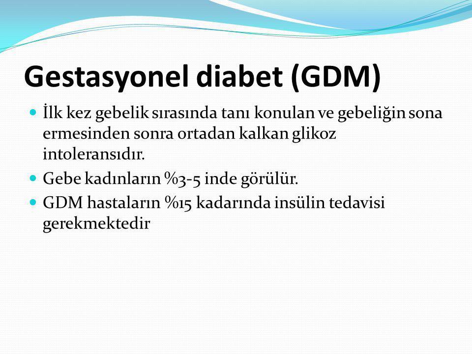 Gestasyonel diabet (GDM) İlk kez gebelik sırasında tanı konulan ve gebeliğin sona ermesinden sonra ortadan kalkan glikoz intoleransıdır. Gebe kadınlar