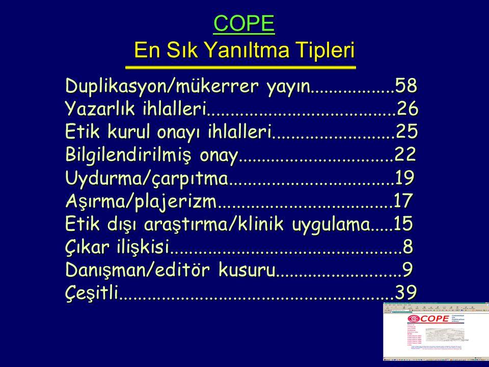 COPE En Sık Yanıltma Tipleri Duplikasyon/mükerrer yayın..................58 Yazarlık ihlalleri........................................26 Etik kurul on