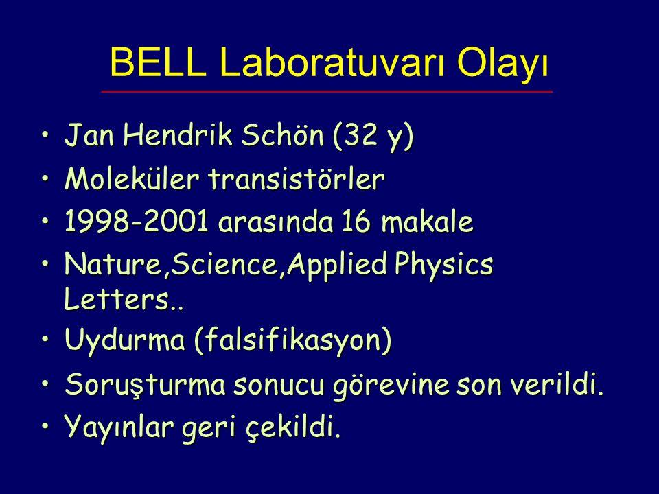 BELL Laboratuvarı Olayı Jan Hendrik Schön (32 y) Jan Hendrik Schön (32 y)  Moleküler transistörlerMoleküler transistörler 1998-2001 arasında 16 maka