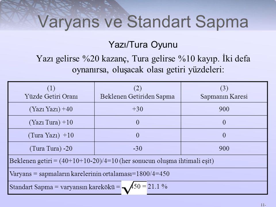 11- Varyans ve Standart Sapma Yazı/Tura Oyunu Yazı gelirse %20 kazanç, Tura gelirse %10 kayıp. İki defa oynanırsa, oluşacak olası getiri yüzdeleri: (1