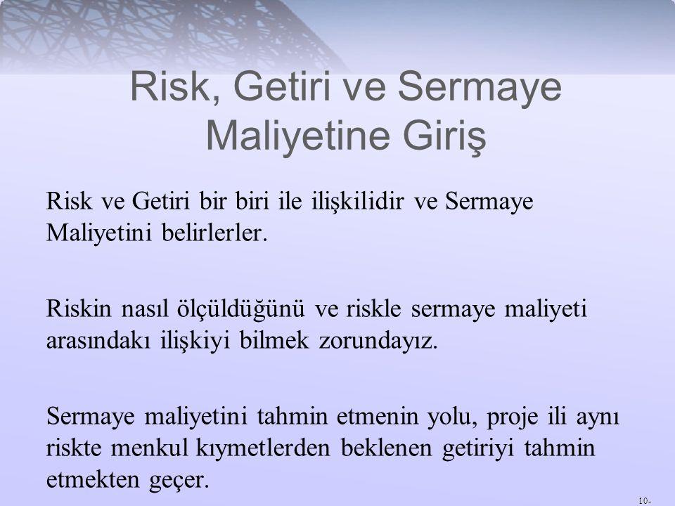 10- Risk ve Getiri bir biri ile ilişkilidir ve Sermaye Maliyetini belirlerler. Riskin nasıl ölçüldüğünü ve riskle sermaye maliyeti arasındakı ilişkiyi