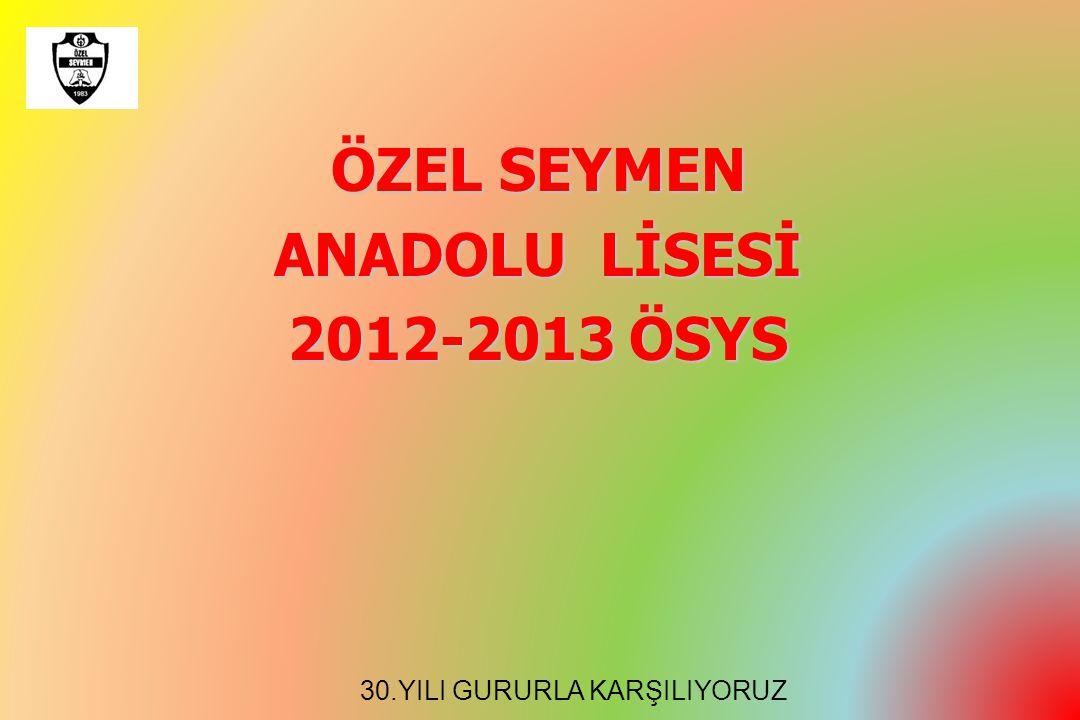 ÖZEL SEYMEN ANADOLU LİSESİ 2012-2013 ÖSYS 30.YILI GURURLA KARŞILIYORUZ