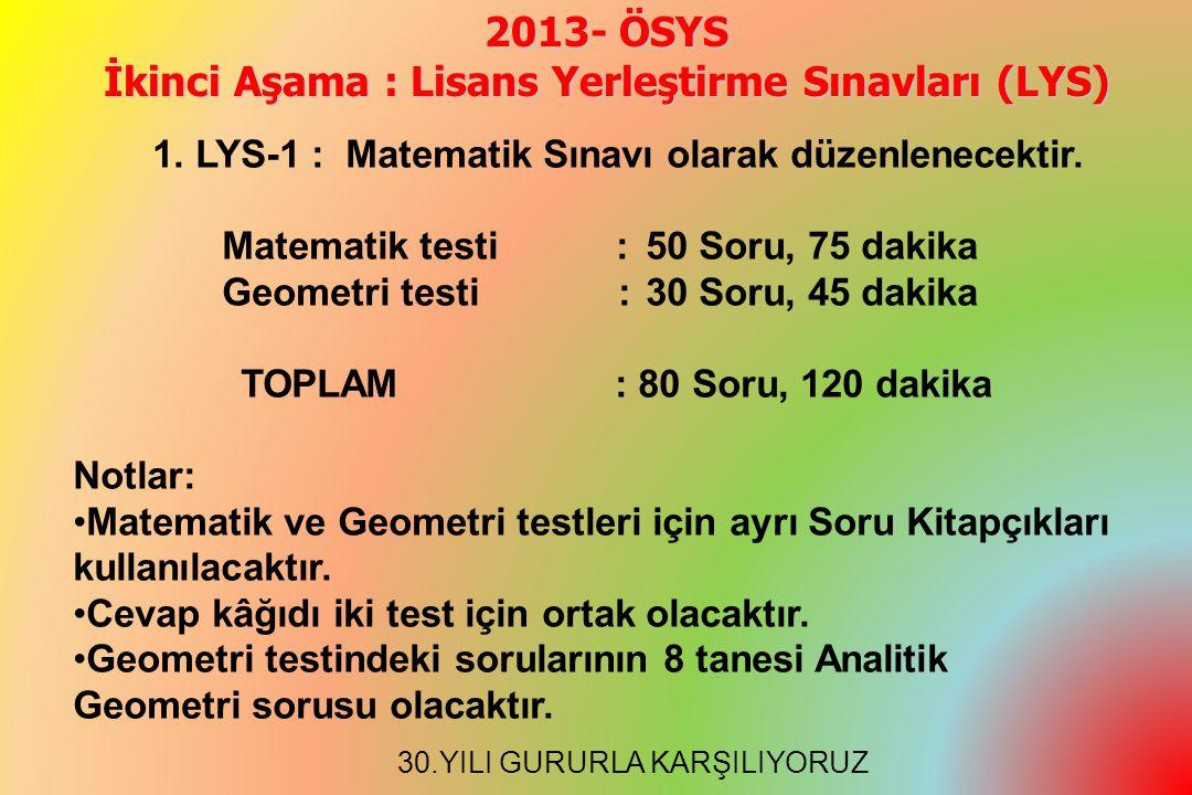2013- ÖSYS İkinci Aşama : Lisans Yerleştirme Sınavları (LYS) 1.