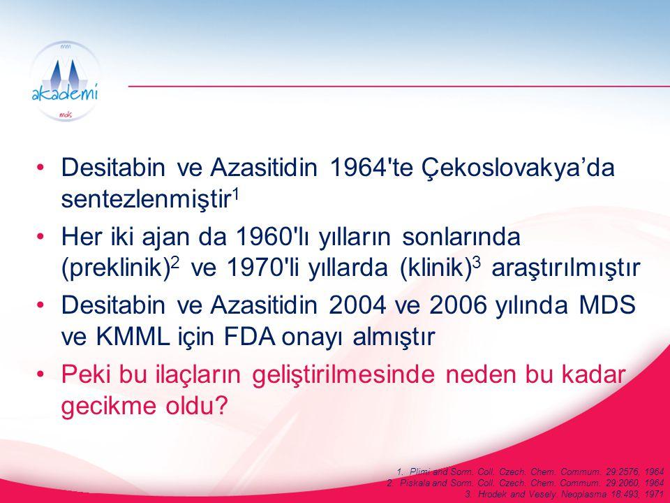 Desitabin ve Azasitidin 1964'te Çekoslovakya'da sentezlenmiştir 1 Her iki ajan da 1960'lı yılların sonlarında (preklinik) 2 ve 1970'li yıllarda (klini
