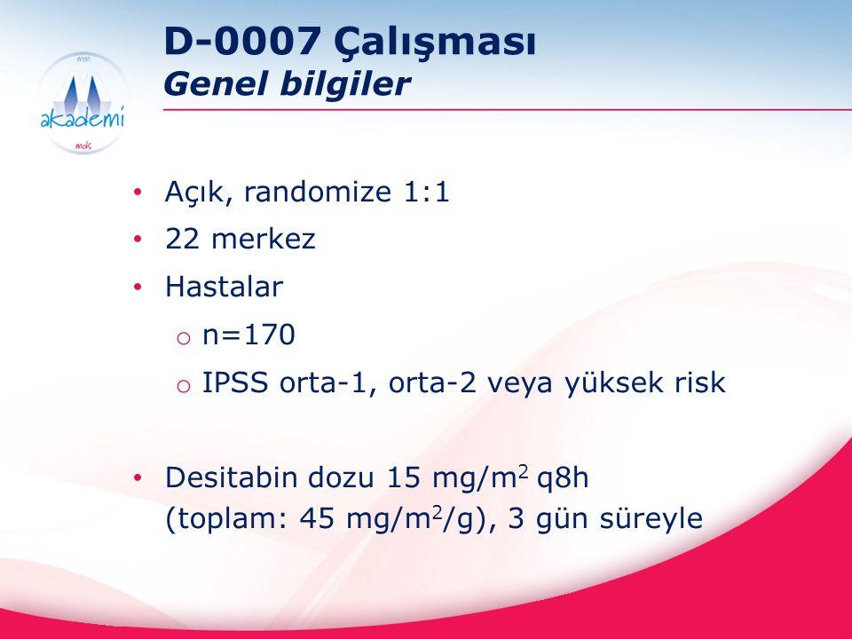 D-0007 Çalışması Genel bilgiler Açık, randomize 1:1 22 merkez Hastalar o n=170 o IPSS orta-1, orta-2 veya yüksek risk Desitabin dozu 15 mg/m 2 q8h (to