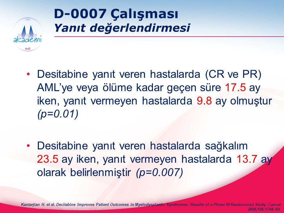 D-0007 Çalışması Yanıt değerlendirmesi Desitabine yanıt veren hastalarda (CR ve PR) AML'ye veya ölüme kadar geçen süre 17.5 ay iken, yanıt vermeyen ha