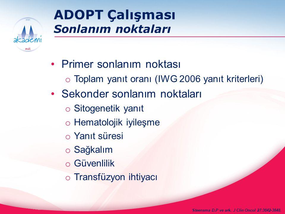 ADOPT Çalışması Sonlanım noktaları Primer sonlanım noktası o Toplam yanıt oranı (IWG 2006 yanıt kriterleri) Sekonder sonlanım noktaları o Sitogenetik