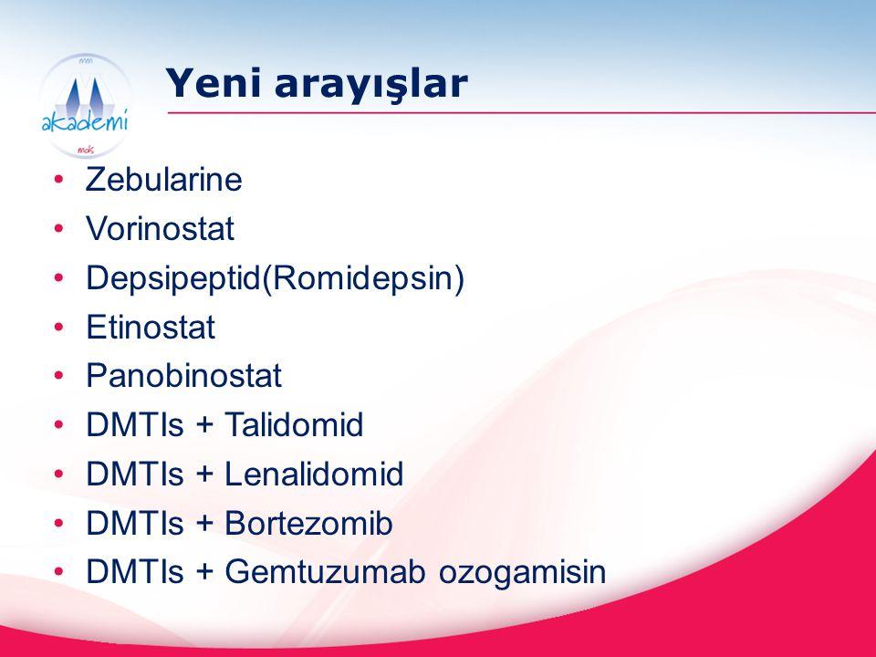 Yeni arayışlar Zebularine Vorinostat Depsipeptid(Romidepsin) Etinostat Panobinostat DMTIs + Talidomid DMTIs + Lenalidomid DMTIs + Bortezomib DMTIs + G