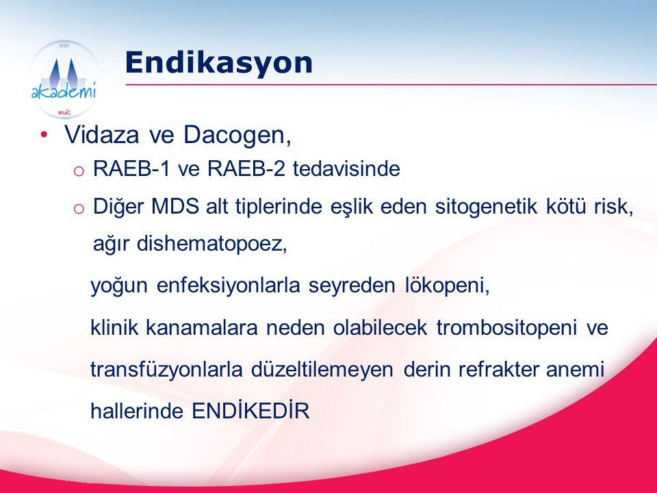 Endikasyon Vidaza ve Dacogen, o RAEB-1 ve RAEB-2 tedavisinde o Diğer MDS alt tiplerinde eşlik eden sitogenetik kötü risk, ağır dishematopoez, yoğun en