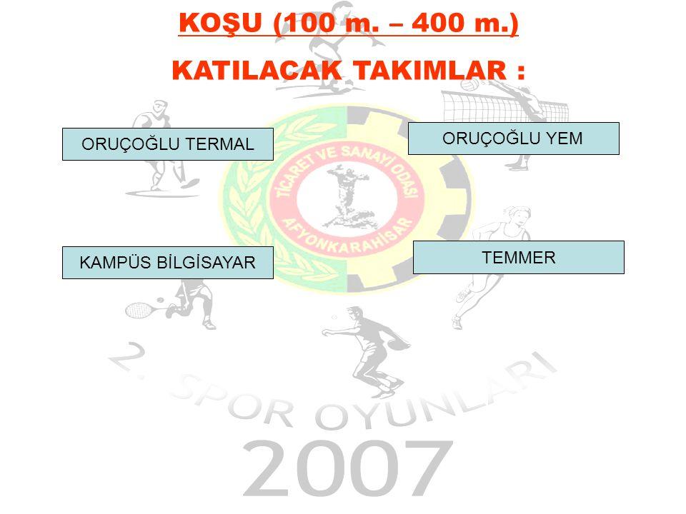 ORUÇOĞLU TERMAL KAMPÜS BİLGİSAYAR TEMMER ORUÇOĞLU YEM KOŞU (100 m. – 400 m.) KATILACAK TAKIMLAR :