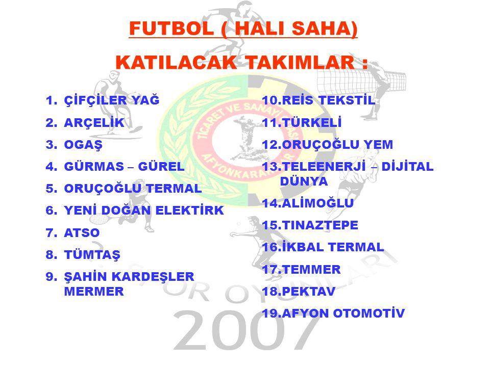 FUTBOL 07.05.2007 19:00 – 20:00 1.– 2. MAÇI Tüm Müsabakalar F.S.M Spor Tesislerinde Yapılacaktır.