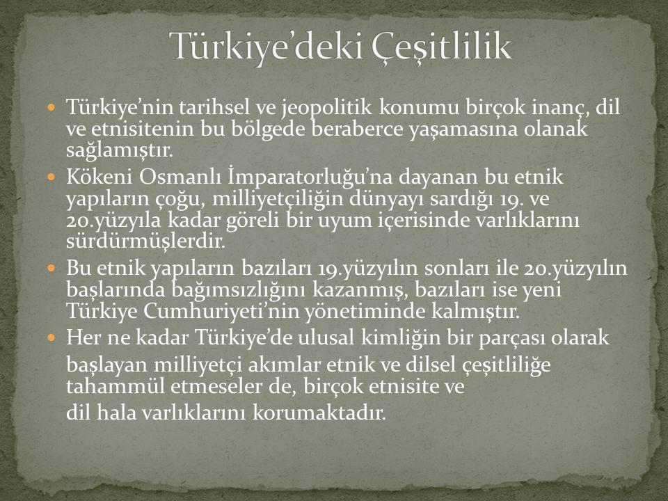 Türkiye'nin tarihsel ve jeopolitik konumu birçok inanç, dil ve etnisitenin bu bölgede beraberce yaşamasına olanak sağlamıştır.