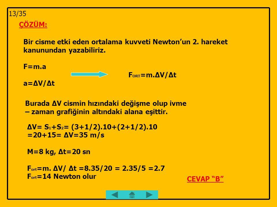 ÇÖZÜM: Bir cisme etki eden ortalama kuvveti Newton'un 2. hareket kanunundan yazabiliriz. F=m.a F ORT =m.∆V/∆t a=∆V/∆t Burada ∆V cismin hızındaki değiş