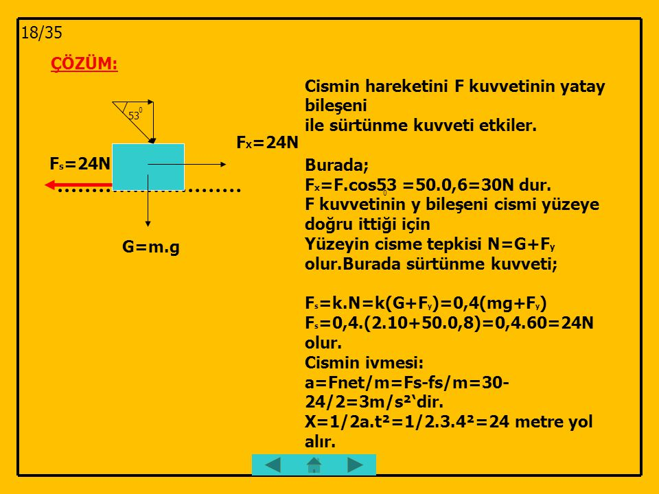 ÇÖZÜM: 53 0 F s =24N G=m.g F X =24N Cismin hareketini F kuvvetinin yatay bileşeni ile sürtünme kuvveti etkiler. Burada; F x =F.cos53 =50.0,6=30N dur.