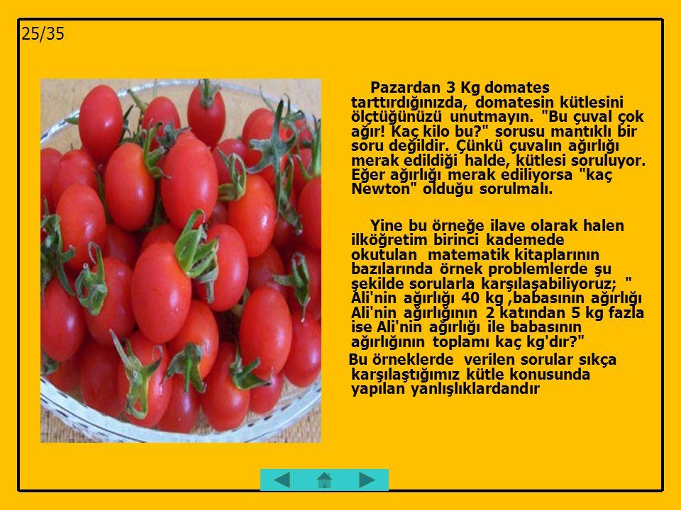 Pazardan 3 Kg domates tarttırdığınızda, domatesin kütlesini ölçtüğünüzü unutmayın.