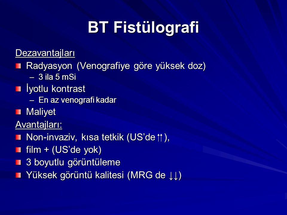 BT Fistülografi Dezavantajları Radyasyon (Venografiye göre yüksek doz) –3 ila 5 mSi İyotlu kontrast –En az venografi kadar MaliyetAvantajları: Non-inv