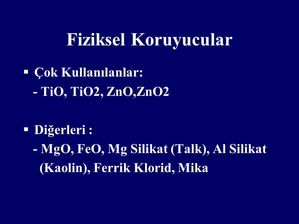 Fiziksel Koruyucular  Çok Kullanılanlar: - TiO, TiO2, ZnO,ZnO2  Diğerleri : - MgO, FeO, Mg Silikat (Talk), Al Silikat (Kaolin), Ferrik Klorid, Mika