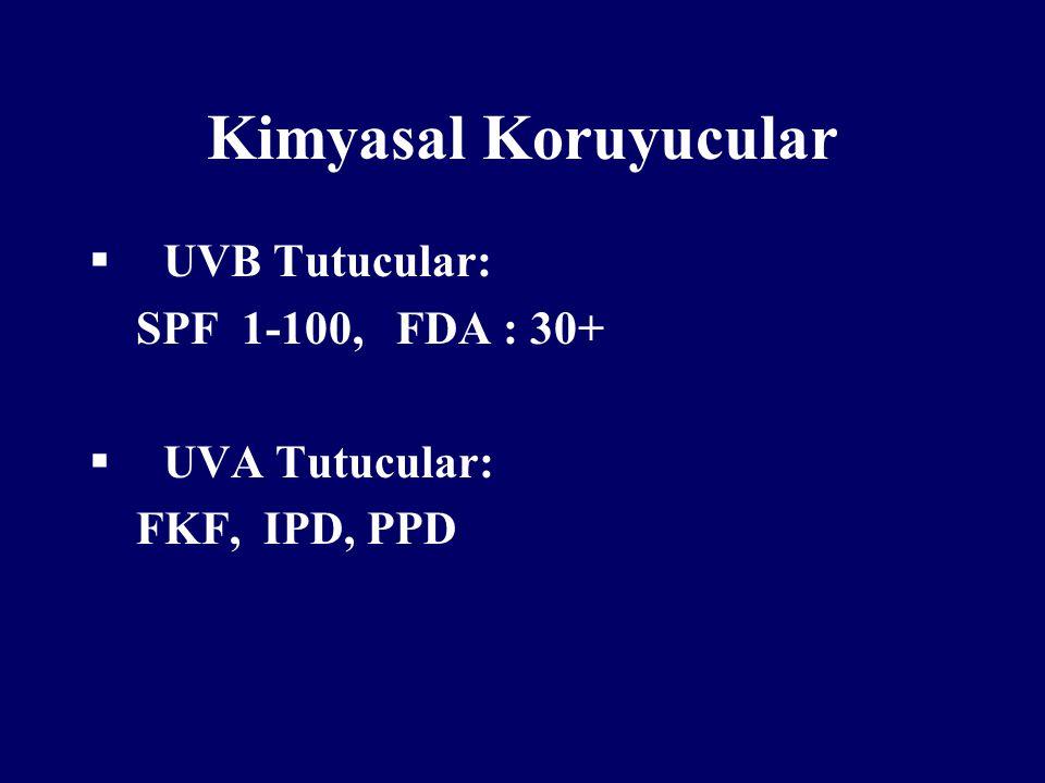Kimyasal Koruyucular  UVB Tutucular: SPF 1-100, FDA : 30+  UVA Tutucular: FKF, IPD, PPD
