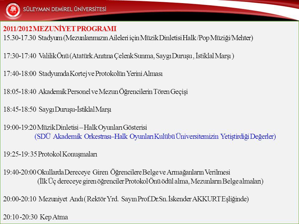 2011/2012 MEZUNİYET PROGRAMI 15.30-17.30 Stadyum (Mezunlarımızın Aileleri için Müzik Dinletisi Halk /Pop Müziği/Mehter) 17:30-17:40 Valilik Önü (Atatü