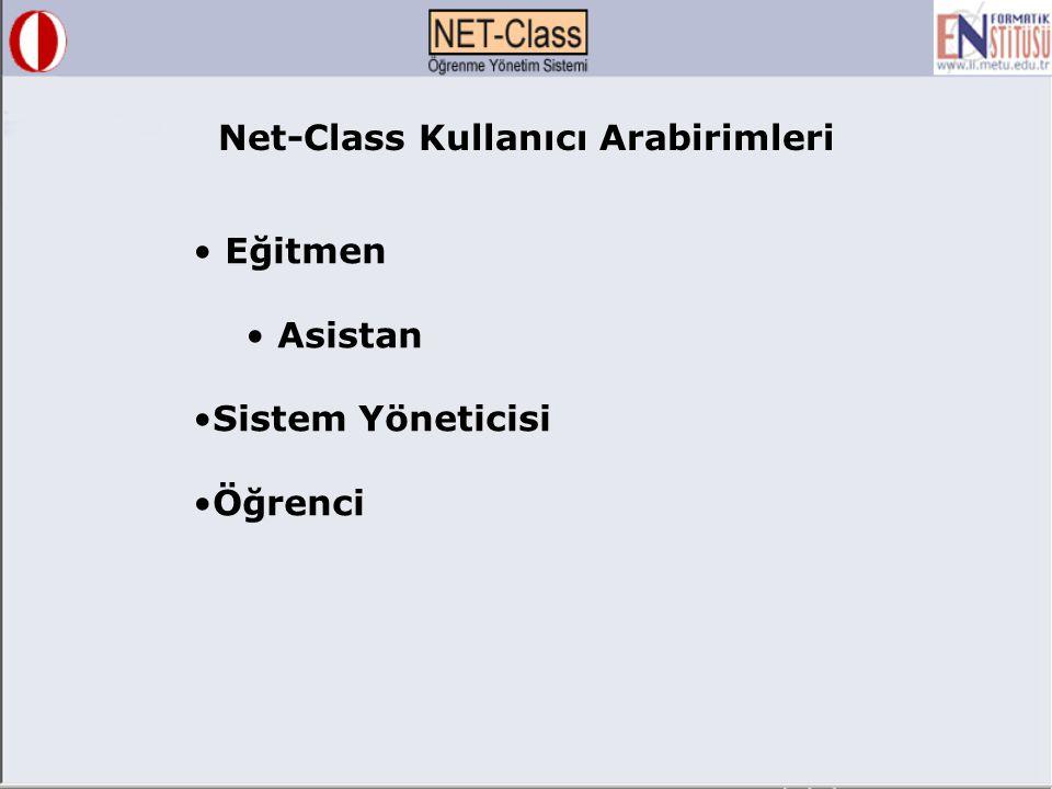 Net-Class Kullanıcı Arabirimleri Eğitmen Asistan Sistem Yöneticisi Öğrenci
