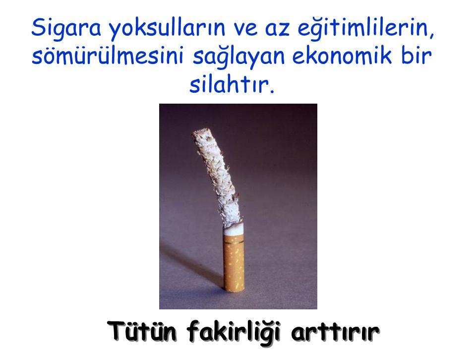 Sigara yoksulların ve az eğitimlilerin, sömürülmesini sağlayan ekonomik bir silahtır. Tütün fakirliği arttırır