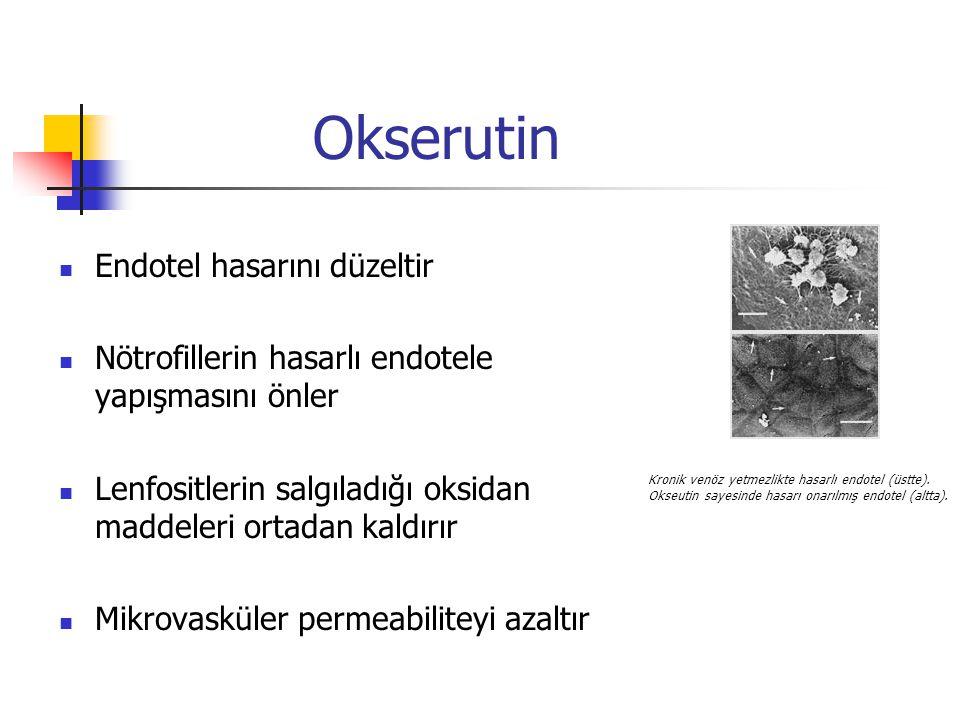 Okserutin Endotel hasarını düzeltir Nötrofillerin hasarlı endotele yapışmasını önler Lenfositlerin salgıladığı oksidan maddeleri ortadan kaldırır Mikrovasküler permeabiliteyi azaltır Kronik venöz yetmezlikte hasarlı endotel (üstte).