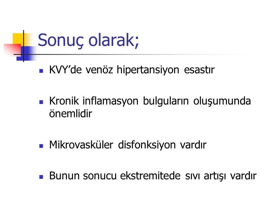 Sonuç olarak; KVY'de venöz hipertansiyon esastır Kronik inflamasyon bulguların oluşumunda önemlidir Mikrovasküler disfonksiyon vardır Bunun sonucu ekstremitede sıvı artışı vardır