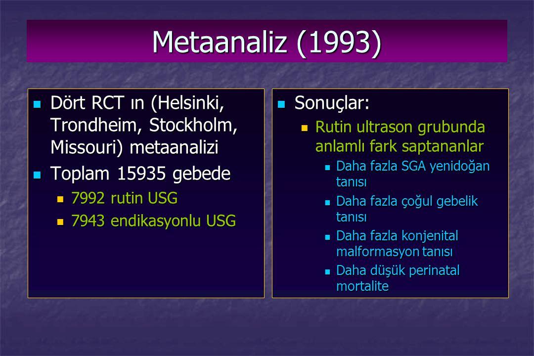 Metaanaliz (1993) Dört RCT ın (Helsinki, Trondheim, Stockholm, Missouri) metaanalizi Dört RCT ın (Helsinki, Trondheim, Stockholm, Missouri) metaanaliz