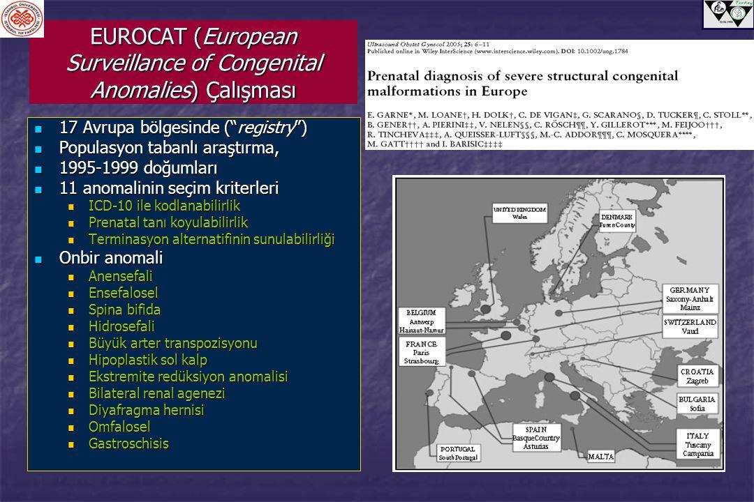 "EUROCAT (European Surveillance of Congenital Anomalies) Çalışması 17 Avrupa bölgesinde (""registry"") 17 Avrupa bölgesinde (""registry"") Populasyon taban"