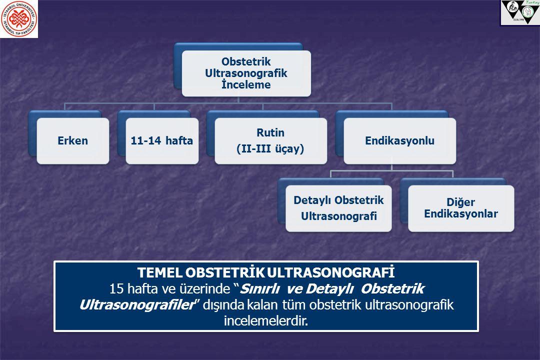 Obstetrik Ultrasonografik İnceleme Erken11-14 hafta Rutin (II-III üçay) Endikasyonlu Detaylı Obstetrik Ultrasonografi Diğer Endikasyonlar TEMEL OBSTET