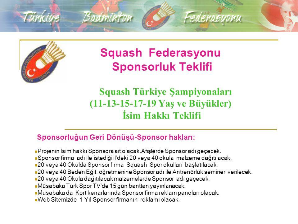 Squash Federasyonu Sponsorluk Teklifi Squash Türkiye Şampiyonaları (11-13-15-17-19 Yaş ve Büyükler) İsim Hakkı Teklifi Sponsorluğun Geri Dönüşü-Sponso