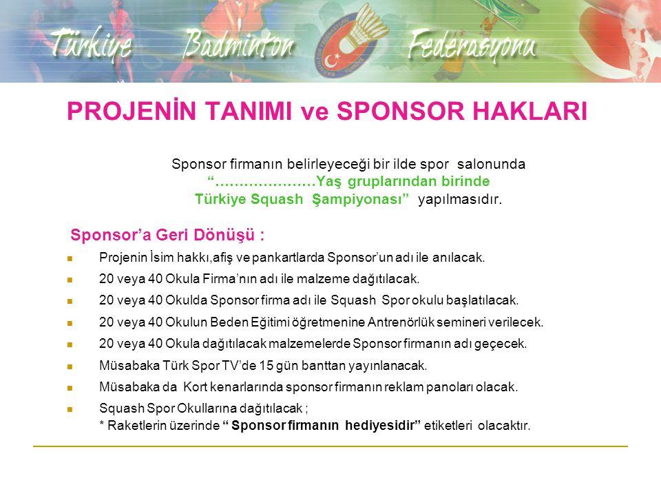 """PROJENİN TANIMI ve SPONSOR HAKLARI Sponsor firmanın belirleyeceği bir ilde spor salonunda """"…………………Yaş gruplarından birinde Türkiye Squash Şampiyonası"""""""