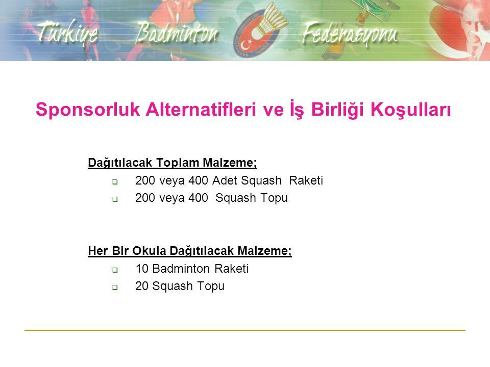 Sponsorluk Bedeli Yaş grupları Türkiye Squash Şampiyonası ve Bütün Sponsor haklarının toplam bedeli : 15.000 YTL (20 Okula Malzeme dağıtımı olursa) 20.000 YTL (40 Okula Malzeme dağıtımı olursa )