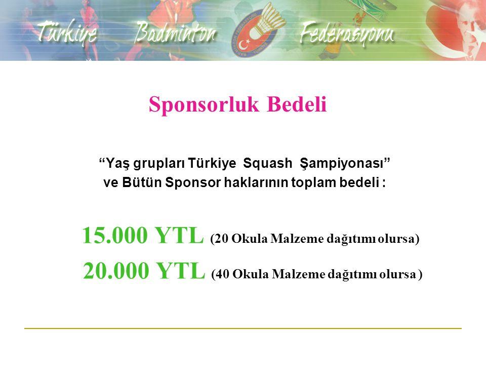 """Sponsorluk Bedeli """"Yaş grupları Türkiye Squash Şampiyonası"""" ve Bütün Sponsor haklarının toplam bedeli : 15.000 YTL (20 Okula Malzeme dağıtımı olursa)"""