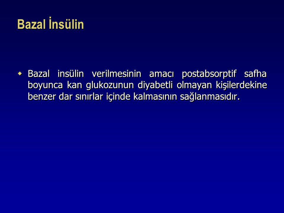 Bazal İnsülin  Bazal insülin verilmesinin amacı postabsorptif safha boyunca kan glukozunun diyabetli olmayan kişilerdekine benzer dar sınırlar içinde