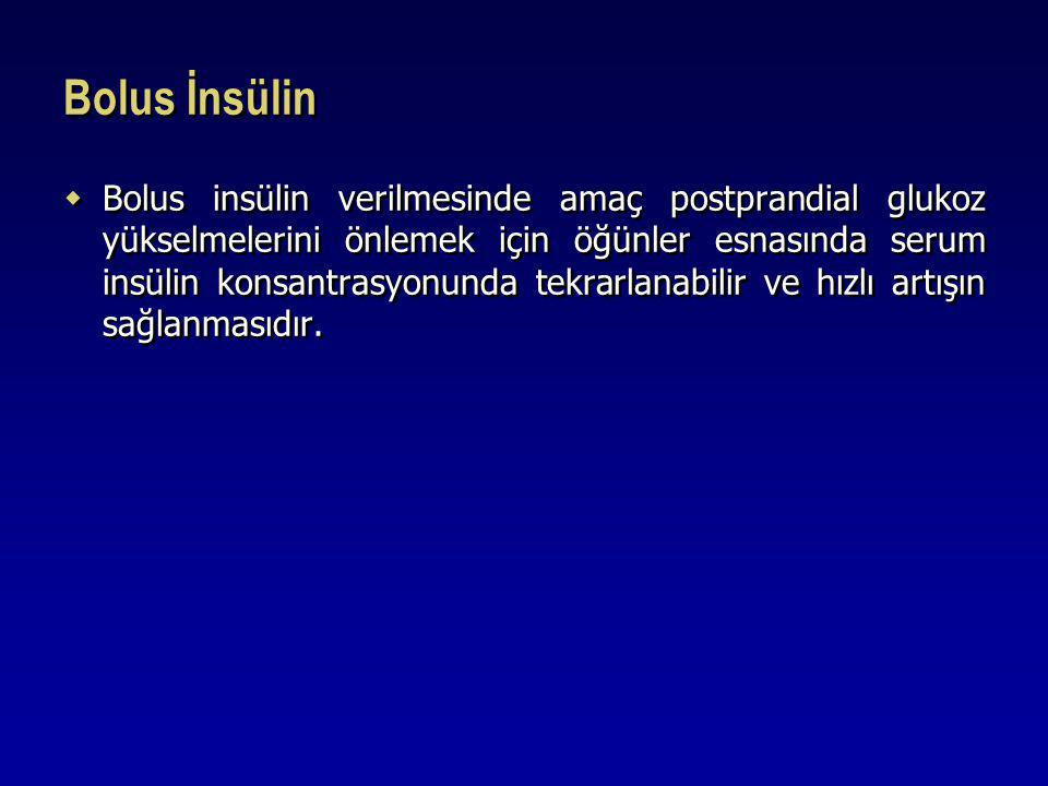 Bolus İnsülin  Bolus insülin verilmesinde amaç postprandial glukoz yükselmelerini önlemek için öğünler esnasında serum insülin konsantrasyonunda tekr