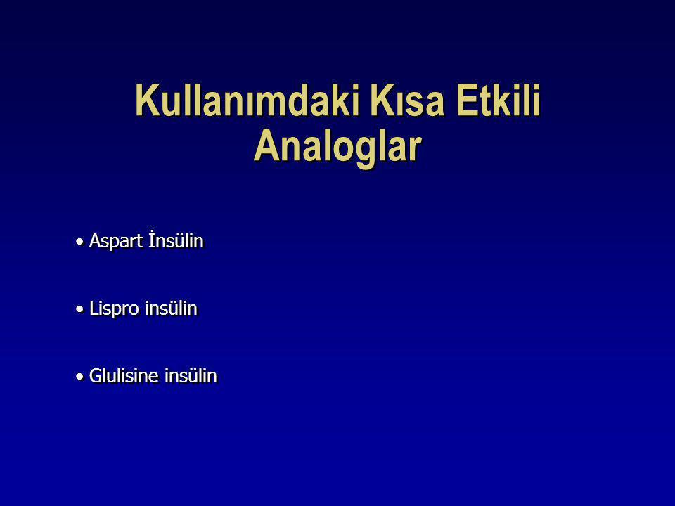 Kullanımdaki Kısa Etkili Analoglar Aspart İnsülin Lispro insülin Glulisine insülin Aspart İnsülin Lispro insülin Glulisine insülin