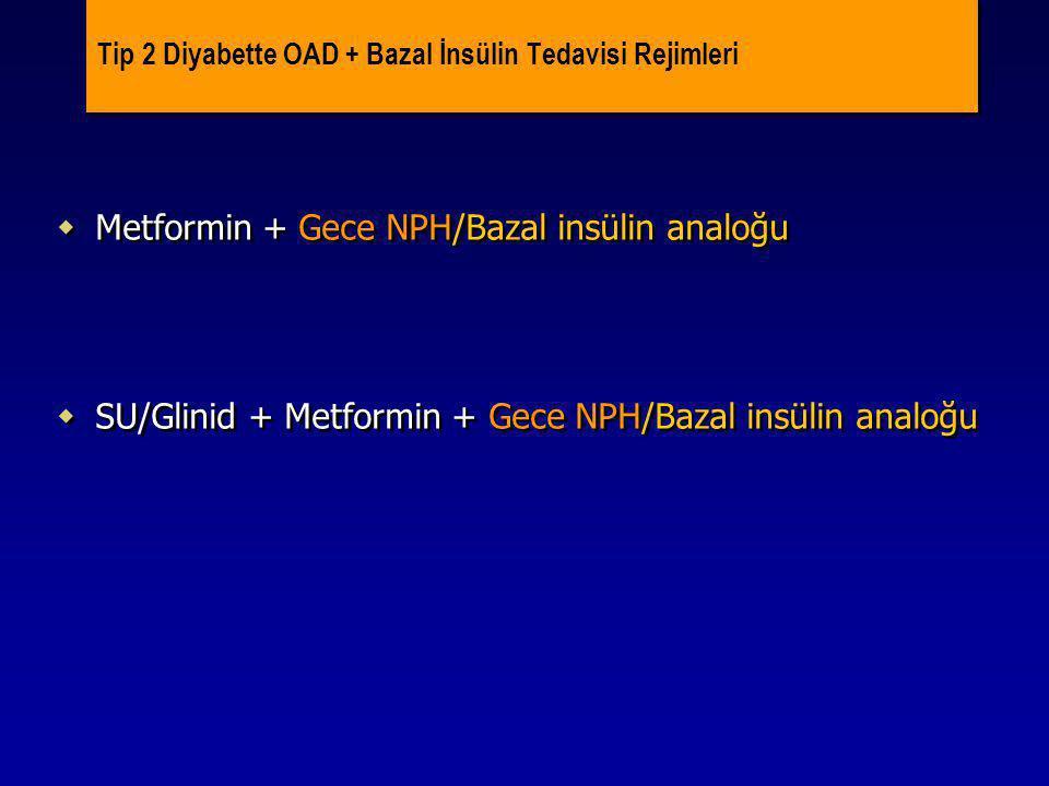 Tip 2 Diyabette OAD + Bazal İnsülin Tedavisi Rejimleri  Metformin + Gece NPH/Bazal insülin analoğu  SU/Glinid + Metformin + Gece NPH/Bazal insülin a
