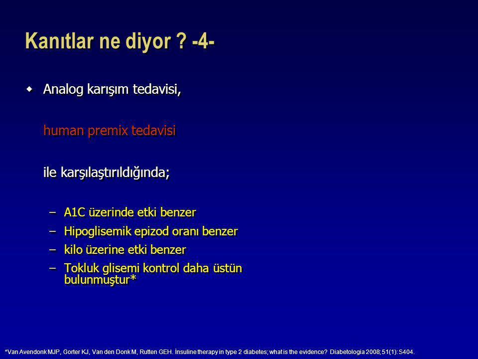 Kanıtlar ne diyor ? -4-  Analog karışım tedavisi, human premix tedavisi ile karşılaştırıldığında; –A1C üzerinde etki benzer –Hipoglisemik epizod oran